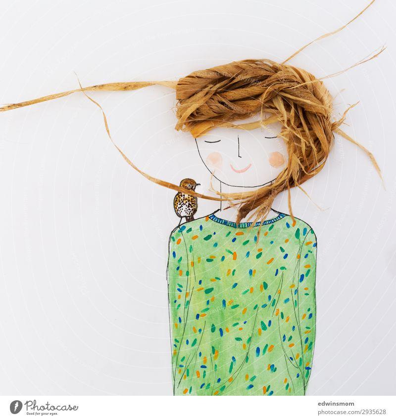 Mrs March Freizeit & Hobby zeichnen feminin Junge Frau Jugendliche Haare & Frisuren 1 Mensch Natur Frühling langhaarig Dekoration & Verzierung Holz Erholung