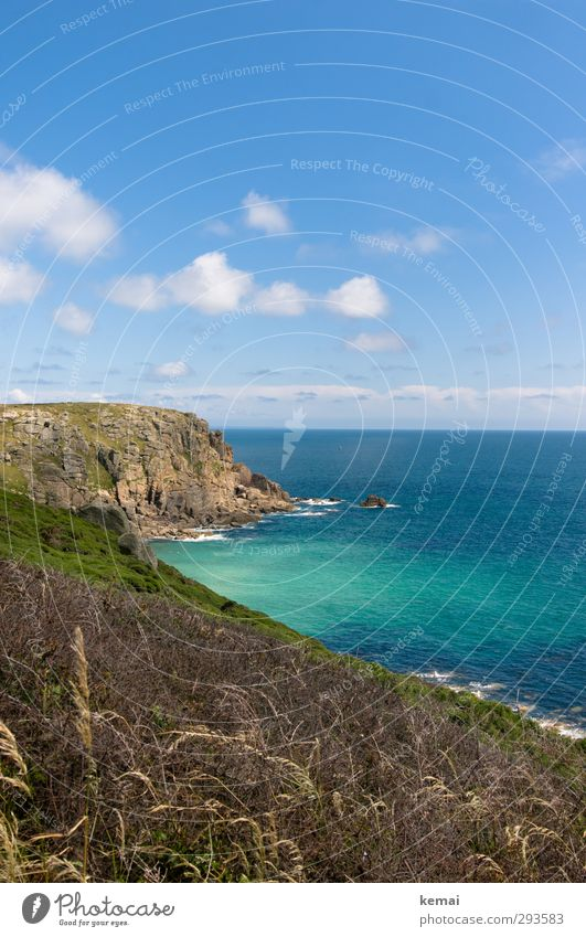 Cornwall Himmel Natur blau Wasser Sommer Pflanze Meer Landschaft Wolken ruhig Erholung Umwelt Wärme Küste Felsen Wachstum