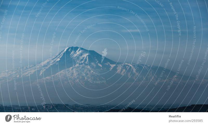 Ararat Umwelt Natur Landschaft Himmel Wolken Schönes Wetter Nebel Schnee Berge u. Gebirge Gipfel Schneebedeckte Gipfel Gletscher Vulkan Eriwan Armenien Türkei