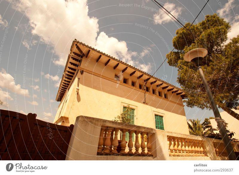 Noch 5 Wochen bis zur Sommerzeit Himmel Wolken Sonnenlicht Schönes Wetter Wärme Baum Haus Einfamilienhaus Traumhaus Bauwerk Architektur Mauer Wand Fassade