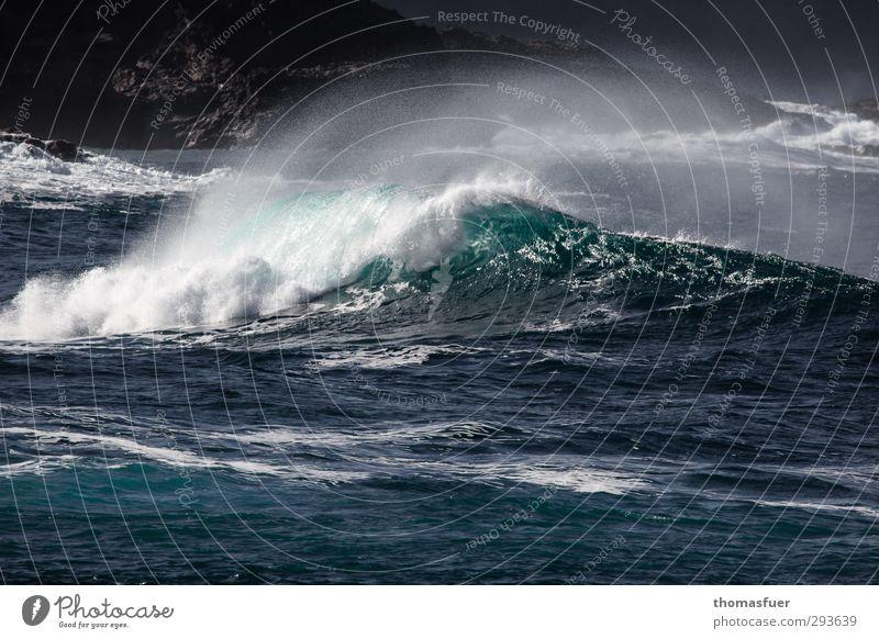 Brandung Natur blau Ferien & Urlaub & Reisen Wasser weiß Sonne Meer schwarz Ferne Küste Schwimmen & Baden Luft Felsen Wellen Wind Kraft