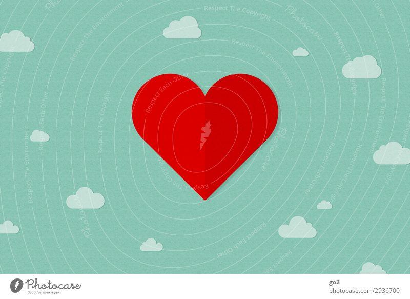 Im siebten Himmel Wolken Zeichen Herz ästhetisch Fröhlichkeit grün rot Gefühle Freude Glück Zufriedenheit Lebensfreude Frühlingsgefühle Vorfreude Sympathie