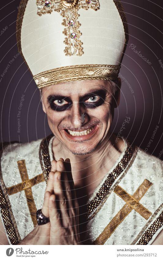 heiliger strohsack Mensch Mann Erwachsene dunkel Gefühle lachen Religion & Glaube gold wild verrückt 45-60 Jahre bedrohlich Wandel & Veränderung Zeichen Stoff