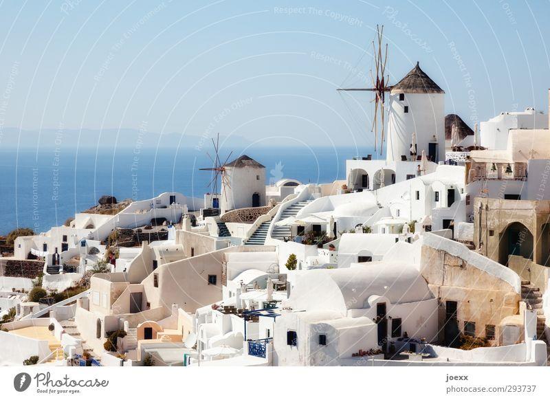 Flaute Himmel blau Ferien & Urlaub & Reisen alt schön weiß Sommer ruhig Haus Wand Mauer braun Horizont authentisch Insel Tourismus