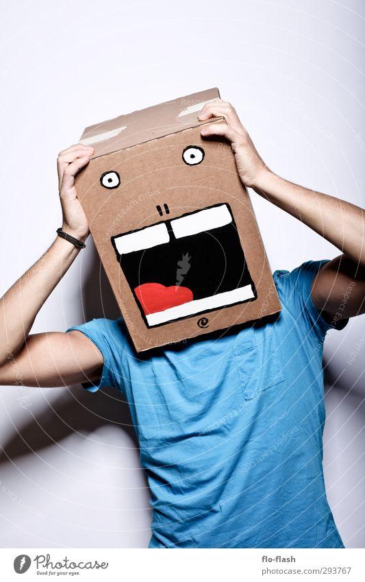 KARTOON · JON III Mensch Mann Jugendliche blau Freude Erwachsene Junger Mann 18-30 Jahre lustig Denken braun Angst maskulin frei lernen T-Shirt