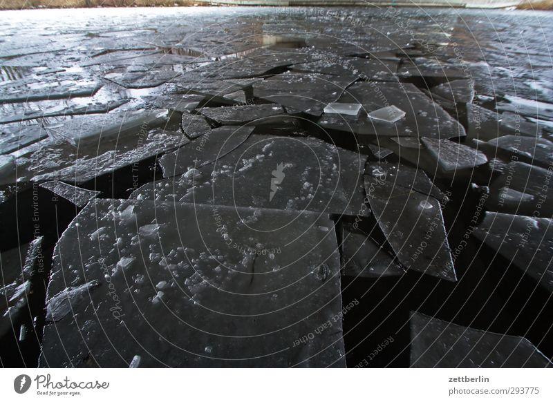 Hohenzollernkanal Winter Umwelt Natur Landschaft Klima Klimawandel Wetter schlechtes Wetter Eis Frost Schnee Küste Seeufer Flussufer kalt Behinderte Eisscholle