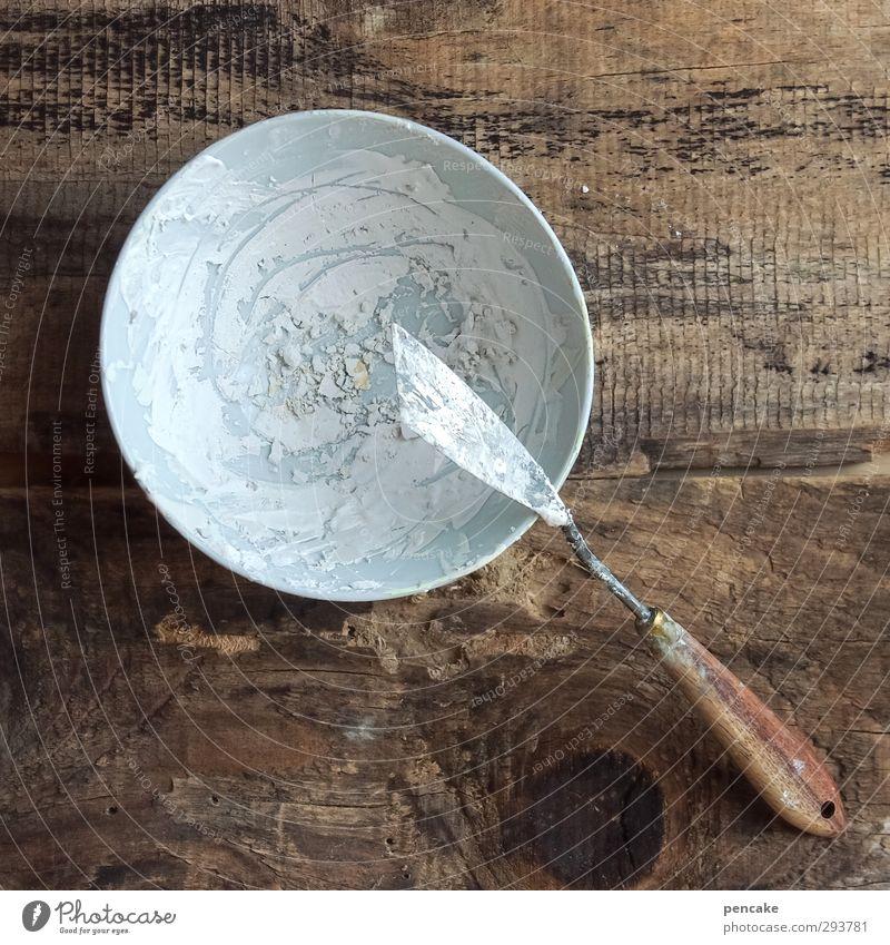 frühjahrsverputz Werkzeug Schalen & Schüsseln Holz bauen gebrauchen machen Gips spachteln Maler Rest trocken hart Renovieren Reparatur Maserung alt Riss