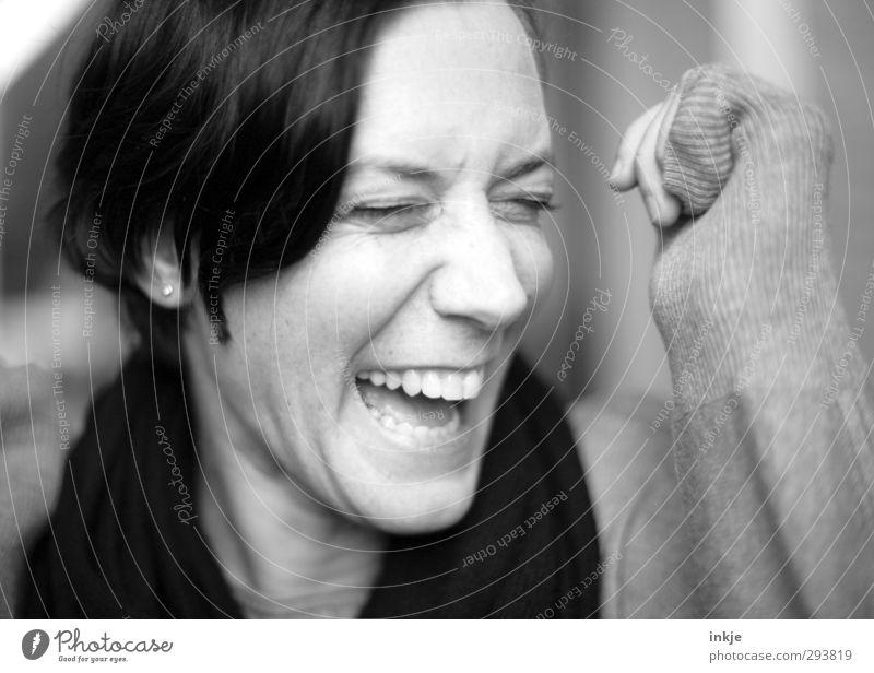 :-)) Mensch Frau Freude Gesicht Erwachsene Leben lachen Gefühle lustig Stimmung Fröhlichkeit Lebensfreude Gesichtsausdruck Begeisterung Witz 30-45 Jahre