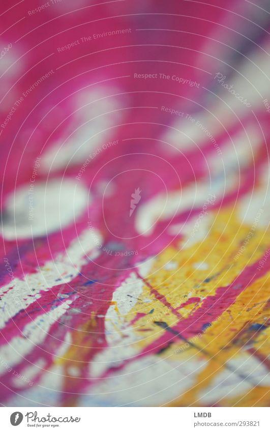 Pink und Gelb Kunst gelb rosa Streifen Linie diagonal vertikal klecksen Fleck spritzen Intuition Impuls zügellos spontan Kreis weiß malen Aktionsmalerei Rinnsal