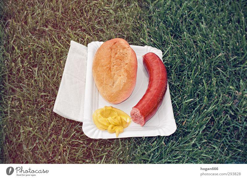 Sportplatz-Rindswurst Wurstwaren Mittagessen Fastfood Fußballplatz Schönes Wetter Gras Essen genießen authentisch einfach heiß lecker gelb grün rot Ehrlichkeit
