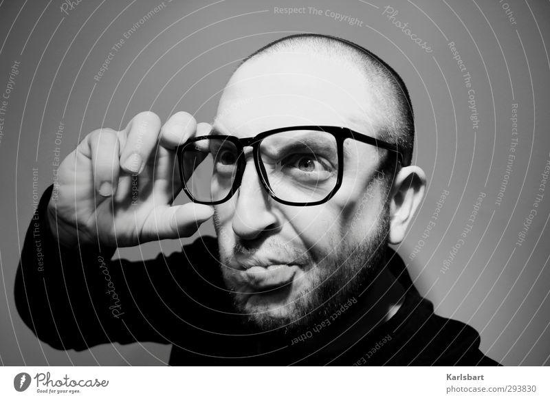 Durch. Blick. Mensch Mann Jugendliche Erwachsene Junger Mann Denken Kopf verrückt lernen Studium Brille Kreativität Bildung Verstand Bart Student