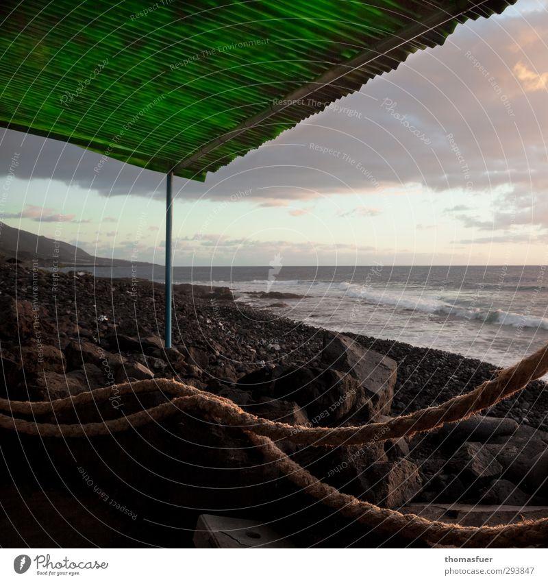 grünes Dach Himmel Ferien & Urlaub & Reisen grün Wasser Sonne Meer Landschaft ruhig Strand Ferne Freiheit Küste Stein Sand Luft Horizont