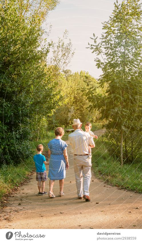 Großeltern und Enkelkinder, die im Freien spazieren gehen. Lifestyle Freizeit & Hobby Sommer Kind Mensch Baby Junge Frau Erwachsene Mann Großvater Großmutter