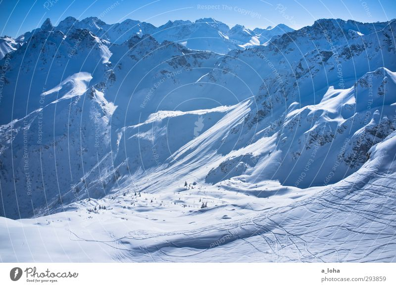 awake my soul Himmel Natur blau weiß Landschaft Winter Umwelt Ferne Berge u. Gebirge Schnee Felsen natürlich Linie Schönes Wetter Urelemente Alpen