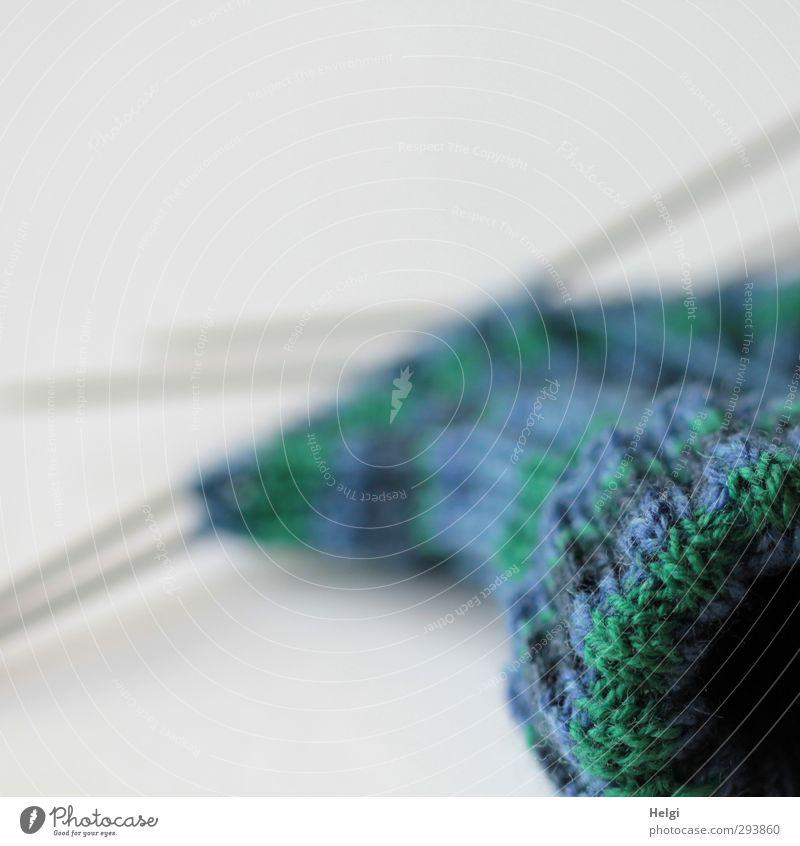 Socken stricken... Freizeit & Hobby Handarbeit Wolle Nadel Stricknadel liegen ästhetisch authentisch trendy blau grau grün Freude achtsam gewissenhaft Design