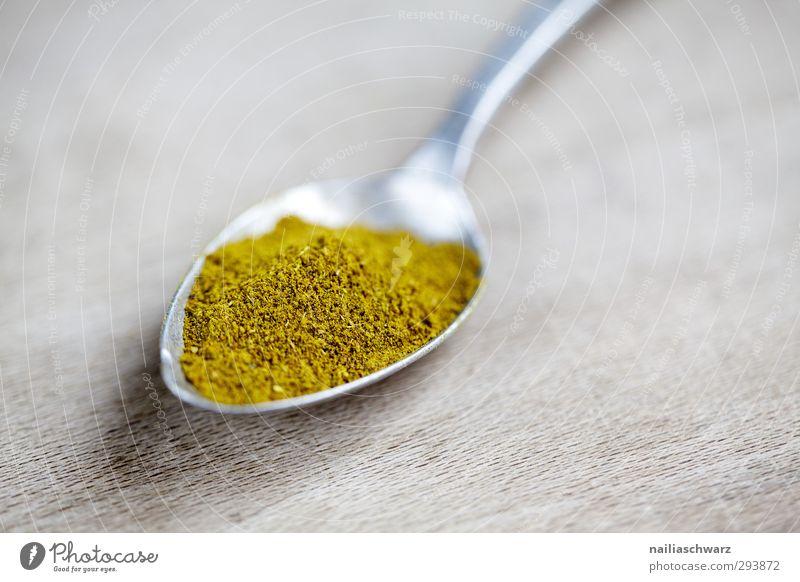 Curry schön Freude gelb Holz grau Metall natürlich Lebensmittel Ernährung genießen Scharfer Geschmack Kräuter & Gewürze lecker Duft Bioprodukte Besteck