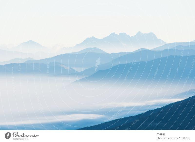 Sanfte Bergwelt harmonisch Erholung ruhig Meditation Ferien & Urlaub & Reisen Berge u. Gebirge Landschaft Nebel außergewöhnlich kalt blau Hoffnung demütig