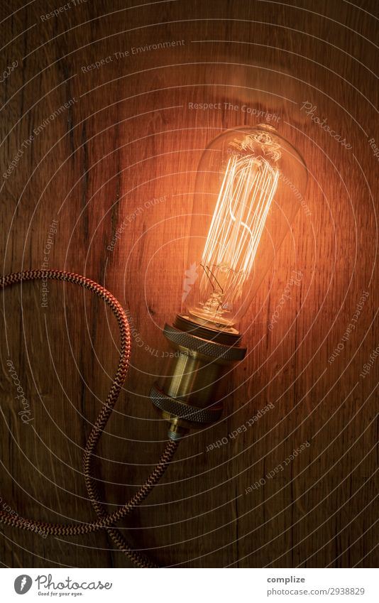Vintage Edison Glühbirne auf Holz Lifestyle Glück Häusliches Leben Wohnung Umzug (Wohnungswechsel) Lampe Raum Wohnzimmer Dekoration & Verzierung hängen edison