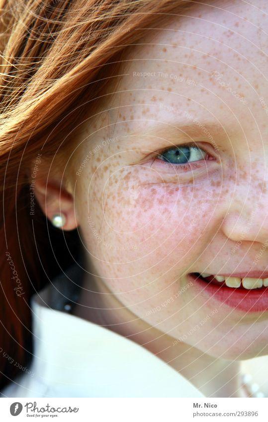 irish Sommer feminin Mädchen Haut Kopf Gesicht Auge Ohrringe rothaarig langhaarig natürlich Zufriedenheit Sommersprossen lachen Augenfarbe frech Freundlichkeit