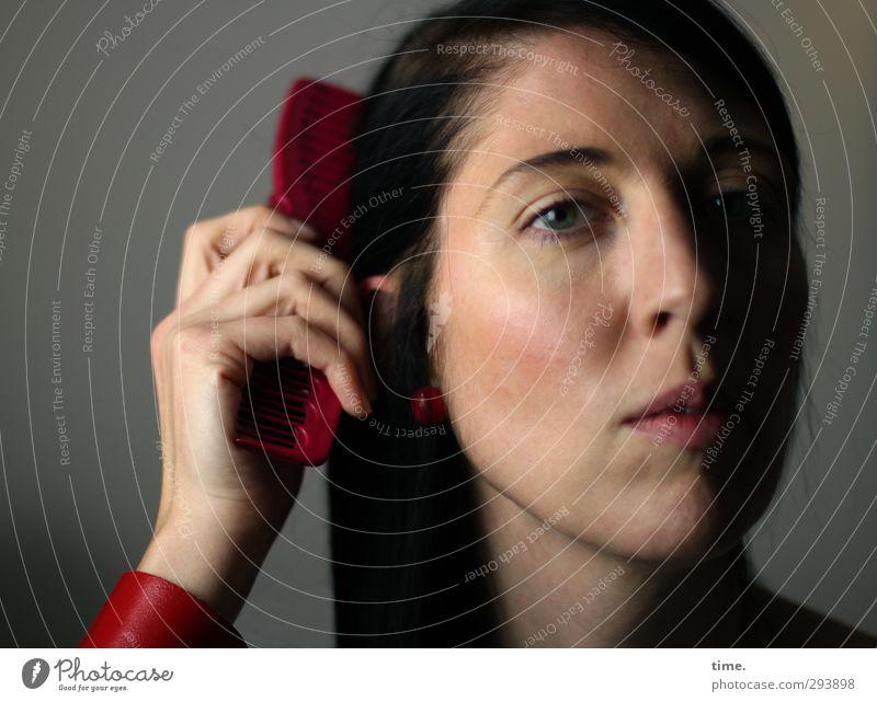 . Mensch Jugendliche schön Hand Gesicht Erwachsene Auge Erotik feminin Haare & Frisuren 18-30 Jahre Kopf Stimmung Zufriedenheit authentisch Finger
