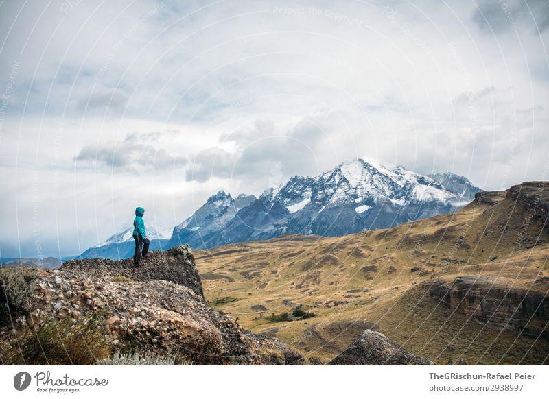 Torres del Paine - NP Umwelt Natur Landschaft blau schwarz türkis weiß Patagonien Außenaufnahme entdecken laufen wandern Berge u. Gebirge Stein Wind Wolken rau