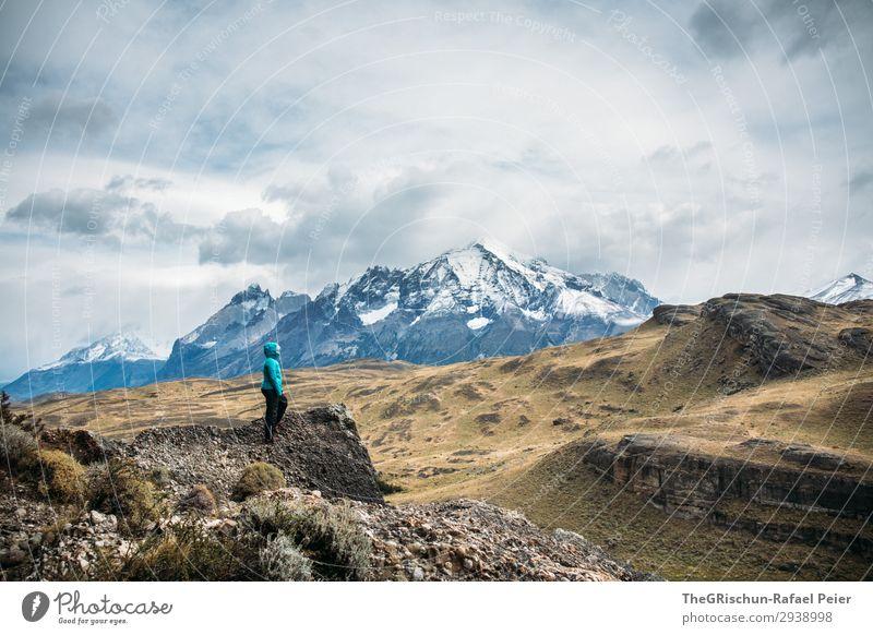 Entdecker Mensch Natur blau weiß Landschaft Wolken Berge u. Gebirge schwarz Stein grau Aussicht Wind Klima entdecken türkis