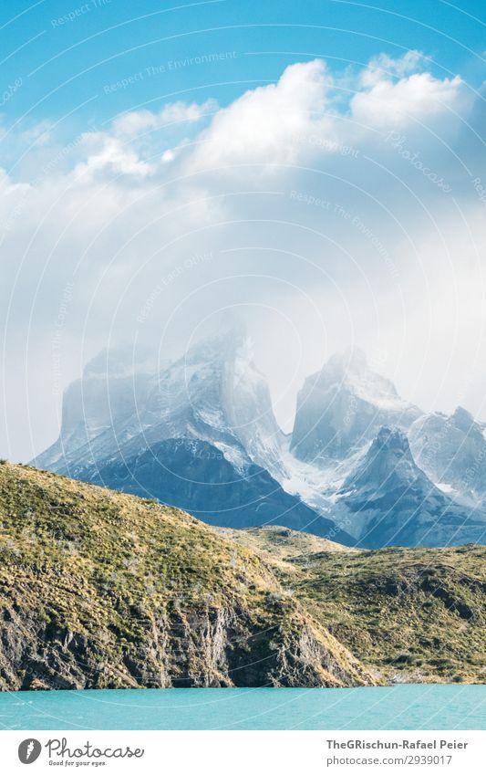 See im Torres del Paine Nationalpark Umwelt Natur Landschaft blau schwarz türkis weiß Berge u. Gebirge Schnee Wolken Patagonien Chile wandern entdecken