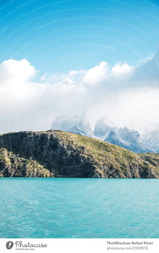 See im Torres del Paine Nationalpark Umwelt Natur Landschaft türkis weiß Torres del Paine NP Wasser Berge u. Gebirge Wolken wandern Bootsfahrt Chile Südamerika