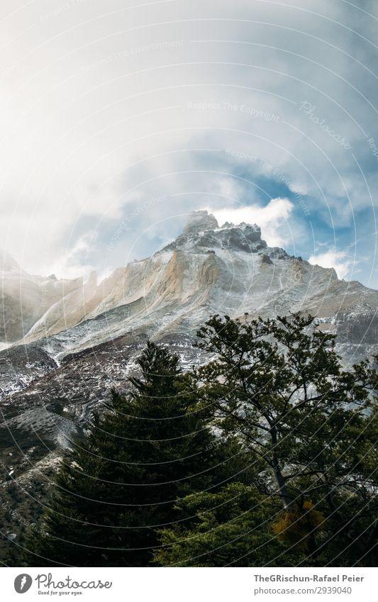Torres del Paine - NP Umwelt Natur Landschaft blau grau grün silber weiß Torres del Paine NP Berge u. Gebirge Wald Schnee Wolken Wind Wetter unbeständig