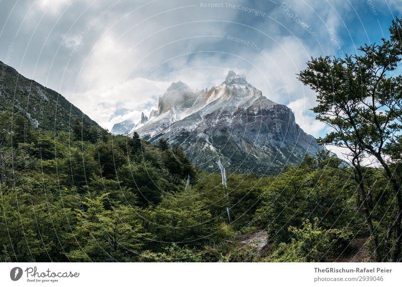 Patatonien - Outdoor Umwelt Natur Landschaft blau braun grün schwarz weiß Berge u. Gebirge Wald Wege & Pfade wandern Sonnenstrahlen Schnee Wolken