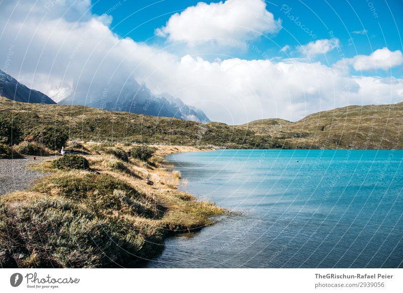 Türkis See im Torres del Paine Nationalpark Ferien & Urlaub & Reisen Natur blau grün Wasser weiß Landschaft Erholung Wolken ruhig Reisefotografie Ferne