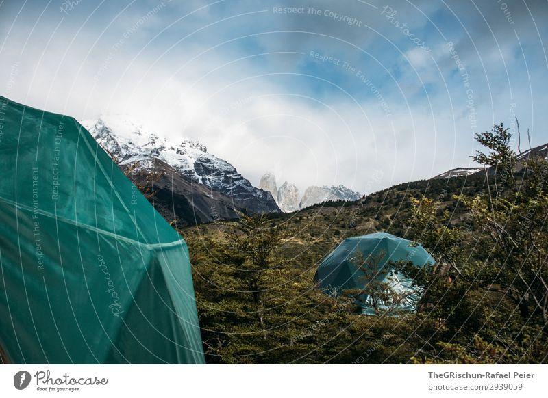 Camping - Torres del Paine Nationalpark - Eco-Camp Umwelt Natur Landschaft grau grün türkis Zelt Torres del  Paine Berge u. Gebirge eco-camp schlafen Unterkunft