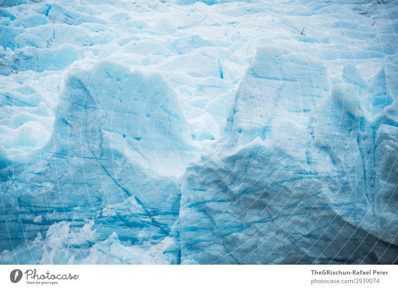 Gletscher Natur bedrohlich blau türkis weiß Eisscholle kalt Schnee Wasser Riss Strukturen & Formen Farbfoto Außenaufnahme Menschenleer Textfreiraum oben