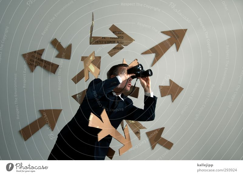 google Werbebranche Mensch maskulin 1 30-45 Jahre Erwachsene Blick Suche Fernglas Pfeile Richtung Orientierung planen Plan Marketing vergrößert zoomen Meinung
