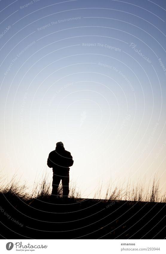 stehen geblieben Lifestyle Ferien & Urlaub & Reisen Ausflug Freiheit Berge u. Gebirge wandern Mensch Mann Erwachsene 1 Umwelt Natur Landschaft Himmel Horizont