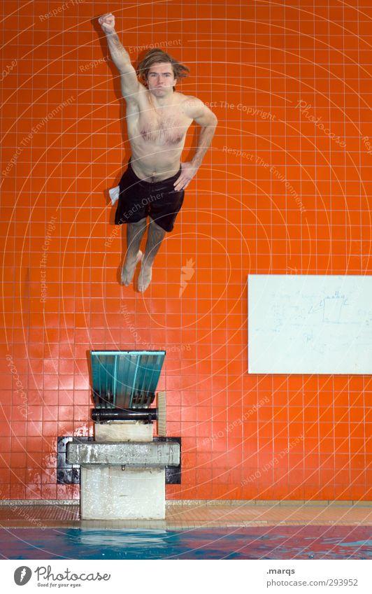 Hero Lifestyle Stil Fitness Sport Wassersport Sportler Sprungbrett Schwimmbad maskulin Junger Mann Jugendliche 1 Mensch 18-30 Jahre Erwachsene Zeichen fliegen