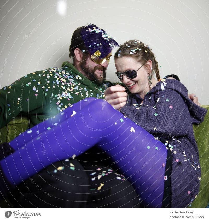 Fotobooth II Mensch Frau Mann grün Freude Erwachsene Leben lachen Gefühle lustig Feste & Feiern Paar Party Freundschaft Zusammensein Fröhlichkeit