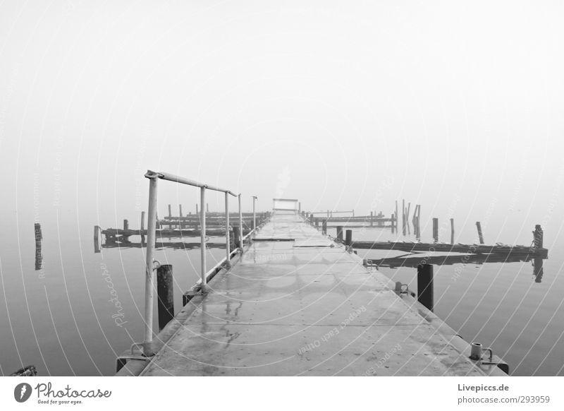 da Steg Natur Landschaft Wasser Himmel Wolken Herbst schlechtes Wetter Nebel Seeufer Brücke liegen grau schwarz weiß Gelassenheit ruhig Einsamkeit stagnierend