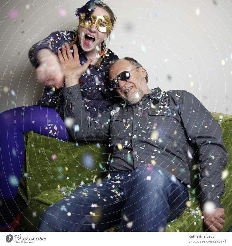 Fotobooth III Mensch Frau Mann grün Hand Freude Erwachsene Leben lachen grau Feste & Feiern Party Freundschaft 45-60 Jahre Brille violett