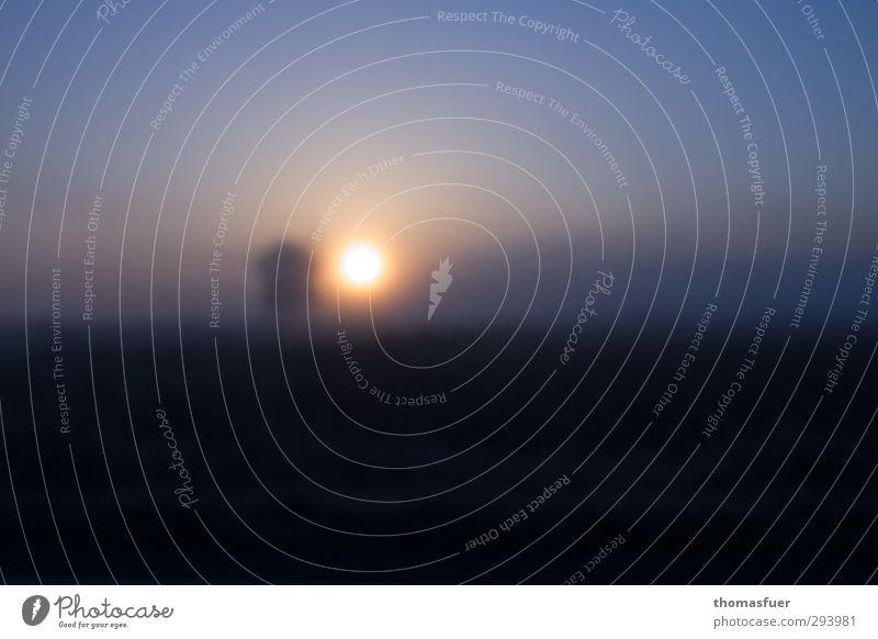 schweres Blau (300) Natur Erde Feuer Luft Wolkenloser Himmel Horizont Sonnenaufgang Sonnenuntergang Winter Schönes Wetter Nebel Baum Feld außergewöhnlich