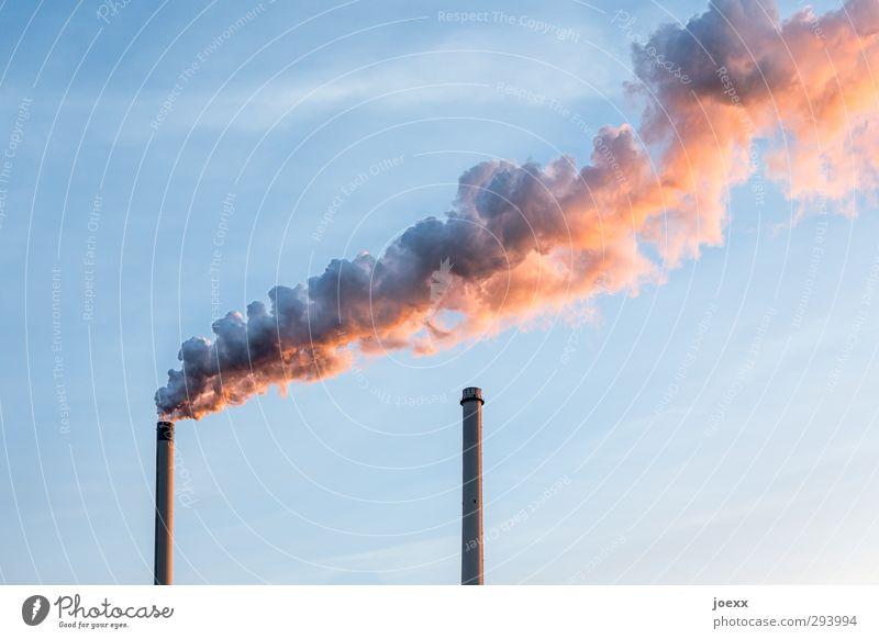 Nichtraucher Kohlekraftwerk Himmel Schönes Wetter Industrieanlage Fabrik Schornstein Aggression hässlich blau orange schwarz Umwelt Umweltverschmutzung Rauch