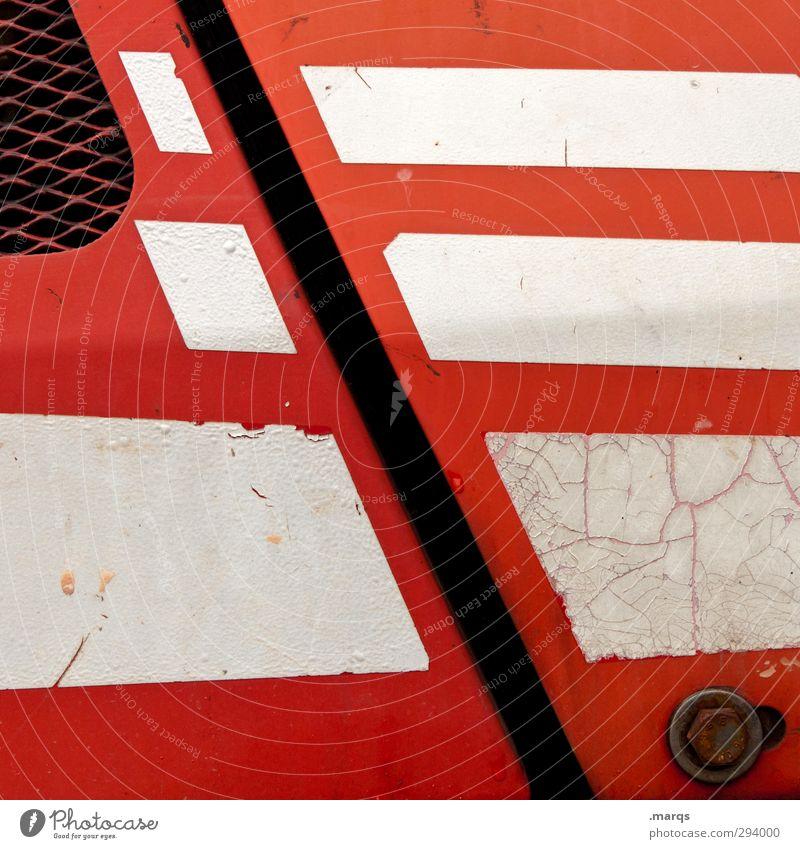 Cut Lifestyle elegant Stil Design Metall Linie Streifen alt außergewöhnlich rot weiß Farbe Grafik u. Illustration Farbfoto Außenaufnahme Detailaufnahme abstrakt