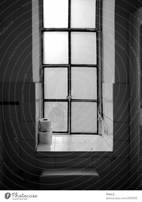 romantisches Örtchen Kultur Toilettenpapier alt dunkel Reinlichkeit Sauberkeit Ferne Fenster ruhig Schwarzweißfoto Innenaufnahme Gegenlicht