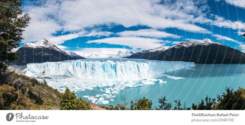 Perito Moreno Gletscher Umwelt Natur blau türkis Eis Patagonien Reisefotografie schmelzen kalbern Wasser kalt Wolken Argentinien el calafate Eisscholle Farbfoto