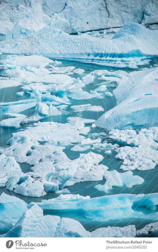 Perito Moreno Gletscher Natur Landschaft blau weiß türkis Wasser Eisscholle Schnee schmelzen Patagonien Argentinien Farbfoto Außenaufnahme Menschenleer