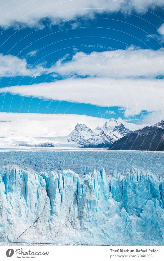 Perito Moreno Gletscher Umwelt Natur Landschaft blau weiß Schnee Eis Argentinien Patagonien Südamerika kalt schmelzen Wolken Berge u. Gebirge Riss Spitze