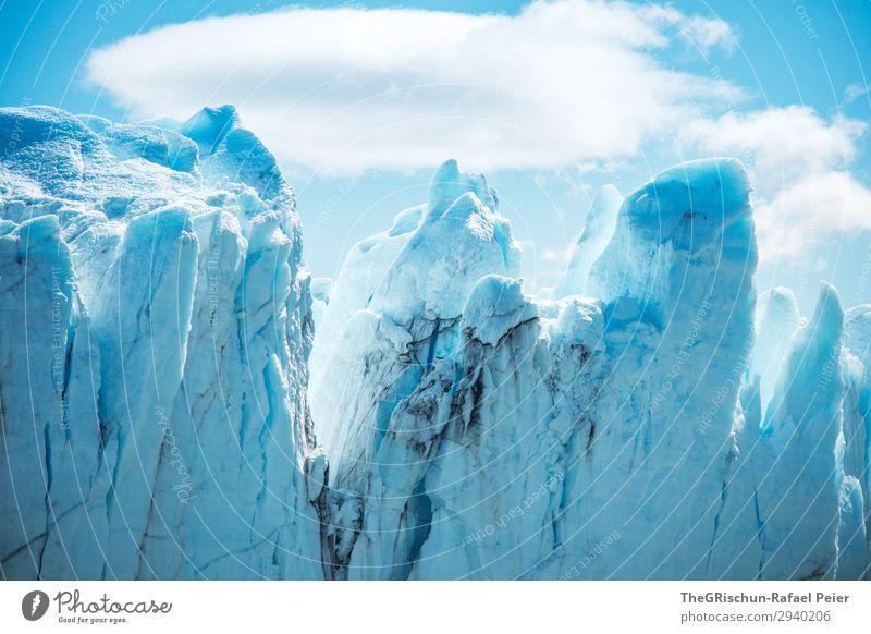 Eisberg Natur Landschaft blau türkis weiß Schnee Gletscher Perito Moreno Gletscher dreckig Riss Spitze Wolken brechen Farbfoto Außenaufnahme Menschenleer