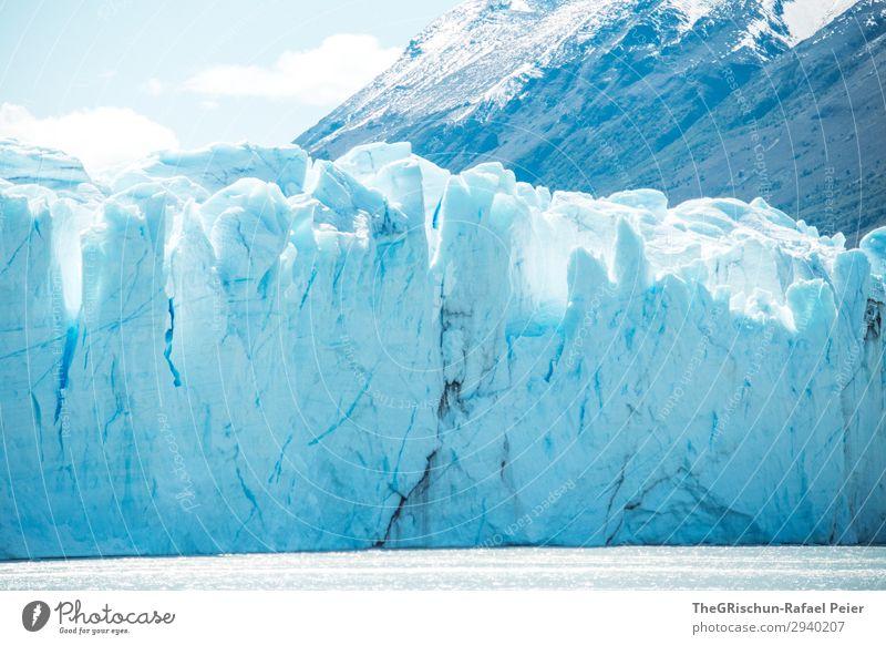 Perito Moreno Gletscher Umwelt Natur Landschaft blau weiß Argentinien Südamerika Patagonien Eis Schnee Berge u. Gebirge brechen Riss Eisscholle Eisberg Farbfoto