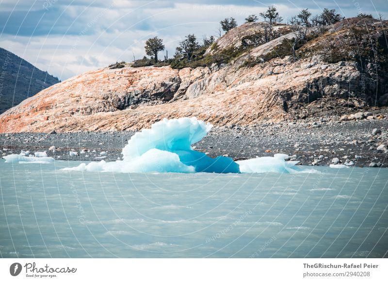 Perito Moreno Gletscher Umwelt Natur blau weiß Eis Eisscholle Eisberg Felsen Im Wasser treiben nass kalt Perito Morena Gletscher Argentinien Stein Farbfoto