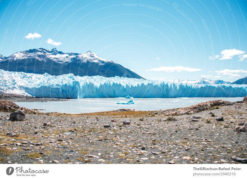 Perito Moreno Gletscher Umwelt Natur blau türkis weiß Sonnenstrahlen Eisscholle Eisberg Berge u. Gebirge Argentinien Küste See Wolken beeindruckend entdecken